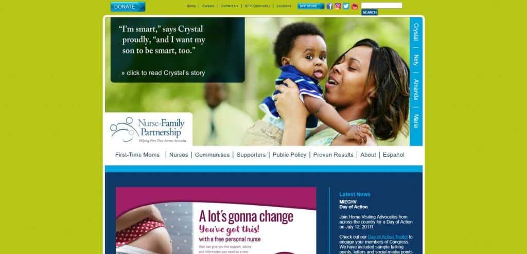Nurse Family Patnership Previous Website Design